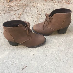 Brown lace up heeled Booties